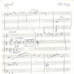 """Viktor Ullmann, esquisse pour """"Der 30. Mai"""" (1943) dans la partition de """"Don Quixote tanzt Fandango"""" (1944). © Fondation Paul Sacher, Bâle, Collection Viktor Ullmann."""