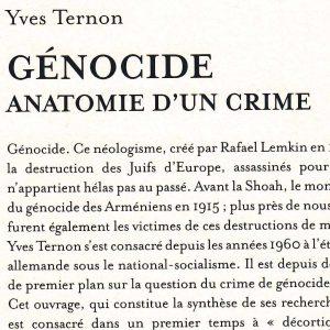 """Extrait de la 4e de couverture de l'ouvrage """"Génocide, anatomie d'un crime"""" d'Yves Ternon, Armand Colin, 2016."""