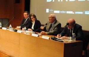 De gauche à droite : Jean-Olivier Viout, Dominique Missika, Serge Klarsfeld et Alain Jakubowicz © Sandra Saragoussi