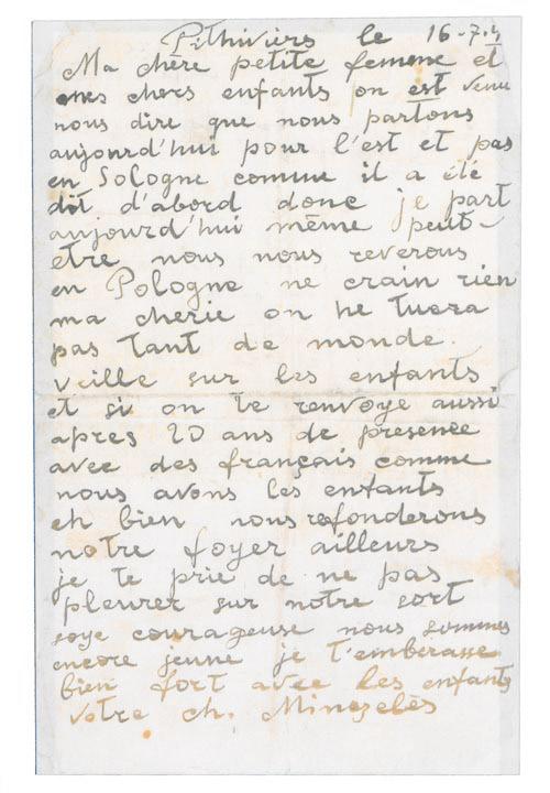 Dernière lettre de Charles Minczeles envoyée à sa femme et ses enfants le 16 juillet 1942 « Ne crains rien ma chérie. On ne tuera pas tant de Monde ».
