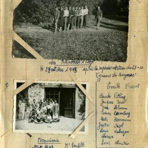 Pages d'un cahier d'une enfant cachée au Chateau de Montintin dans la Creuse