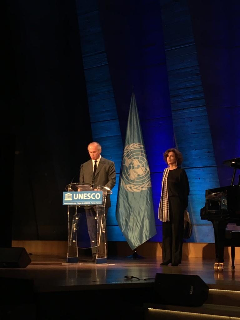 Audrey Azoulay, directive générale de l'Unesco et François Heilbronn, vice président du Mémorial de la Shoah